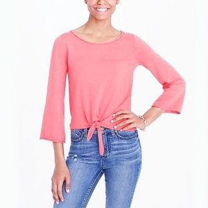 J.Crew - Lightweight Tie Front Sweater in Coral